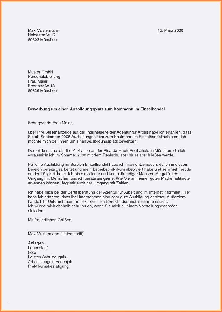 Briefprobe Briefformat Briefvorlage Lebenslauf Vorlagen Lebenslauf Bewerbung Ausbildungsplatz