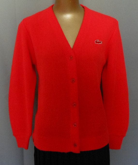 Vintage 70s Cardigan Golf Sweater, 1970s Women Red Izod Lacoste Sweater w Alligator Logo, Size Small to Medium
