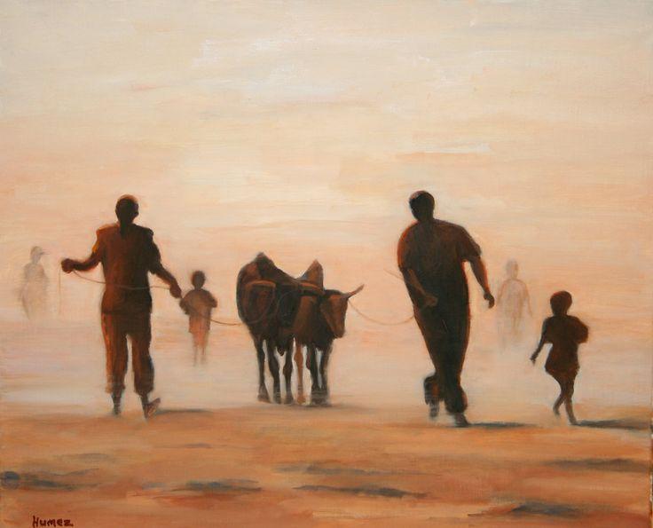 PEULS  huile sur toile  d'après carnet de voyage Mali