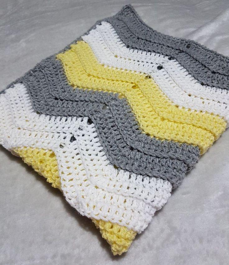 handmade crochet chevron baby blanket lemon grey white.Cot pram cradle car seat   Baby, Nursery Bedding, Blankets & Throws   eBay!