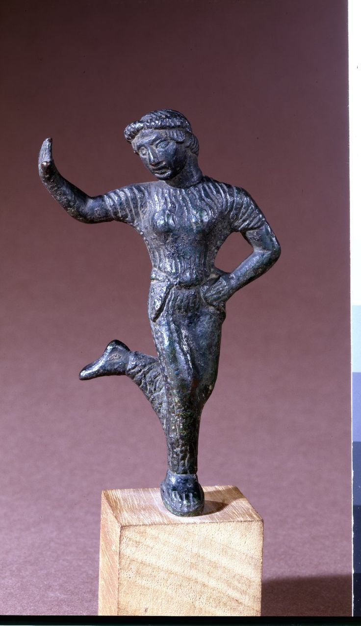 Bronze statuette of dancing woman, probably from a candelabrum. Etruscan (?) Date 5thC BC