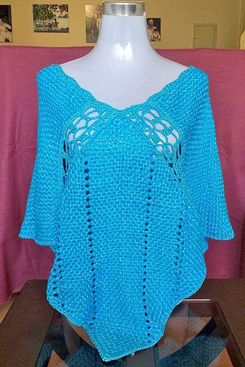 poncho verano calado con aplicaciones crochet hilo seda