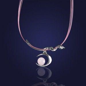 Srebrny naszyjnik z kwarcem różowym