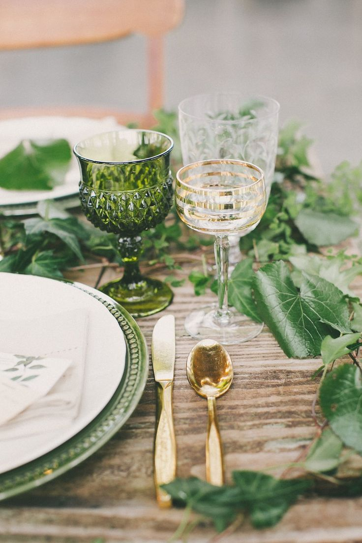 Beautiful Botanical Wedding Inspiration from Chic Vintage Brides. We love the fresh feel the green gives to this table scape and the sophistication of the decorative glasses and gold cutlery.