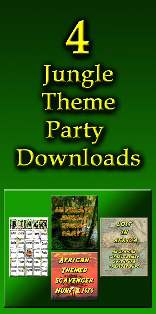 Four jungle theme party downloads including an African safari themed treasure hunt and a jungle themed Bingo set