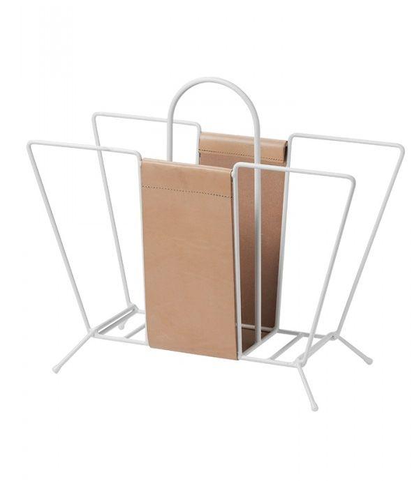 Suitcase tidningskorg läder white, Maze