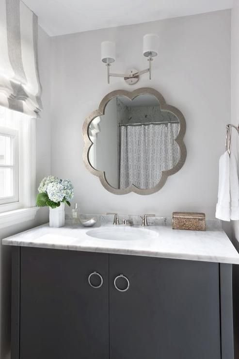 Beautiful gray and white bathroom
