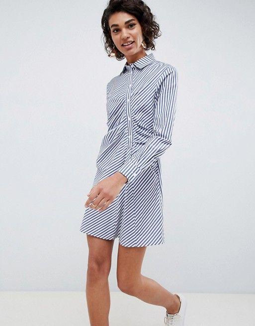 WHITE shirt dress in stripe  80c44b26e