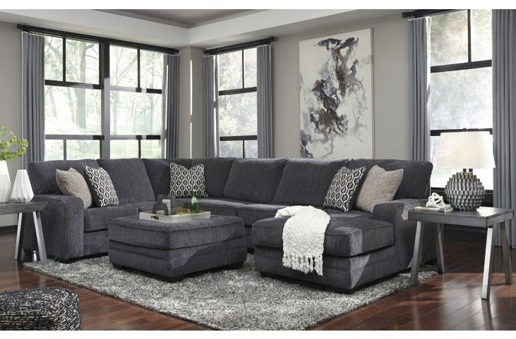 Tracling Slate Raf Sectional From Ashley Coleman Furniture Gray Sectional Living Room Living Room Decor Dark Wood Floor Living Room Decor