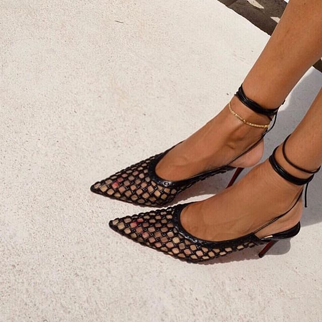 73d8b9a4a3a2 CHRISTIAN LOUBOUTIN + Roland Mouret Cage and Curry mesh and woven leather  pumps PINNED FOOTWEAR