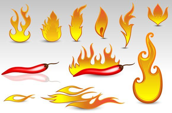 Flames Vector by TrueMitra Designs on @creativemarket