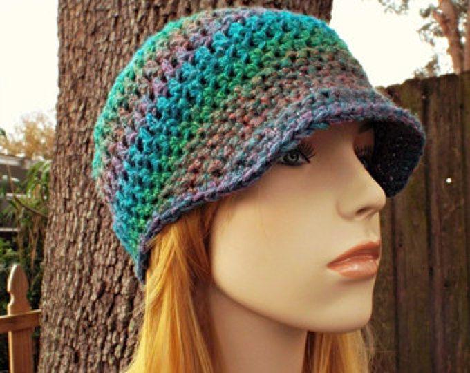 Crochet el sombrero sombrero de mujer azul azul vendedor de periódicos sombrero sombrero azul - Skater Boy Cap en Tropical color de rosa verde azul metálico - las mujeres accesorios