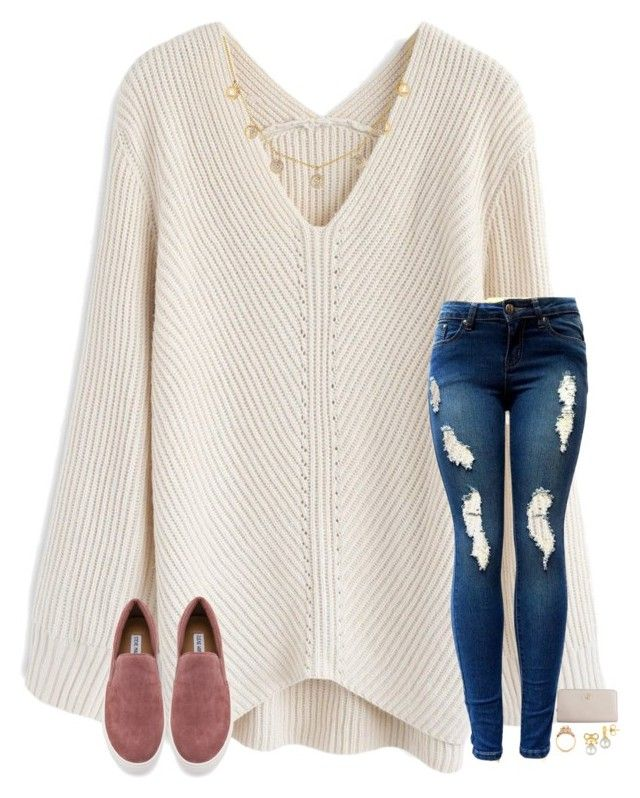 """""""today has been really good :)"""" by elliegracee ❤ liked on Polyvore featuring Chicwish, Steve Madden, Majorica and Tory Burch"""