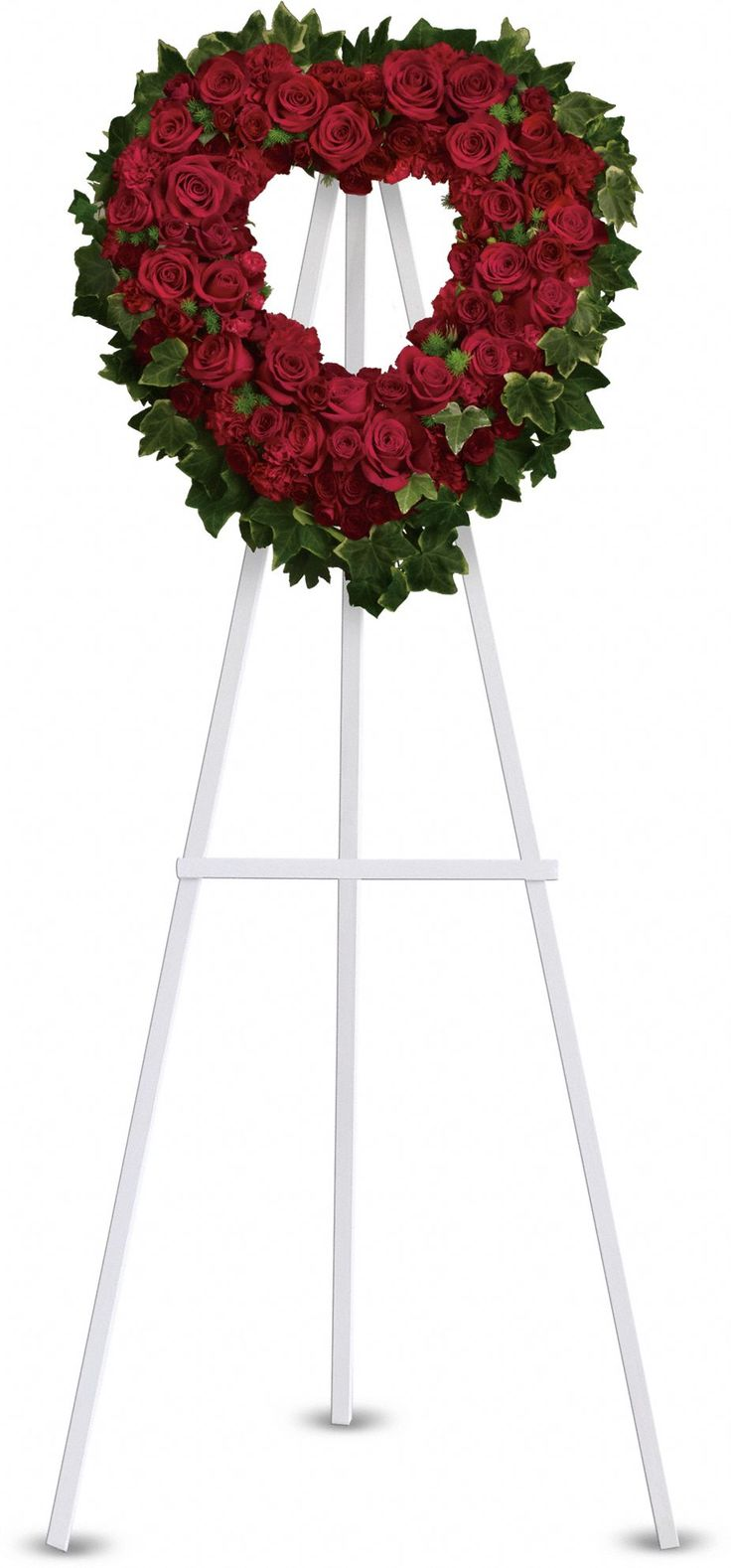 10 best sympathy arrangements images on pinterest funeral flowers red roses and carnations are accented with ming fern and variegated ivy on an open heart shaped wreath izmirmasajfo