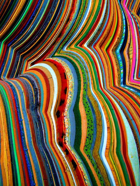 Photo by Les Flynn --Topographical crochet--alternate colors and stripe/patterned yarns, use increase and decrease to create curves, could be flat like afghan or bumpy like hills and mountains (frame in shadow box?)