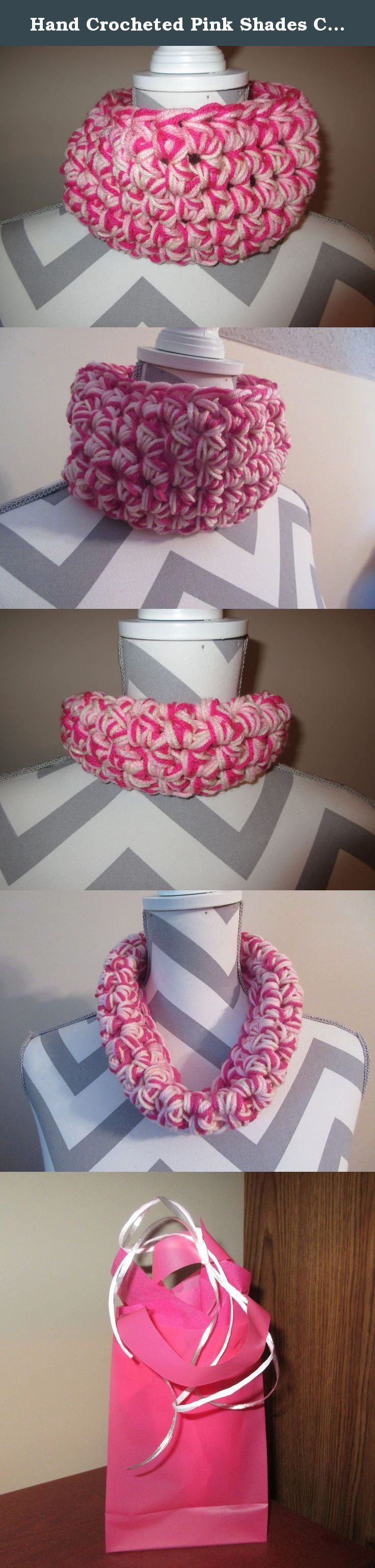 Hand Crocheted Pink Shades Chunky Cowl Scarf Tunnel Neck Warmer Design by Ladies Fashion Infinity Fall Winter OSFA Handmade Gift for Her Gift Bag and Ribbon Included. Handmade Super Soft Pink Shades Tunnel Cowl Neck Warmer Scarf Hand Crocheted Cowl Infinity Design 22 inches circumference (hand crocheted together in one loop 5 inches tall can be worn as a neck warmer or turned down as a very soft warm scarf). Super soft luxe acrylic yarn. Washable - machine on gentle or by hand -- lay flat…