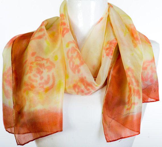 Hand Painted Silk Scarf Roses Pastel Brown by KallenSilkScarves