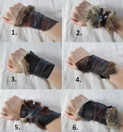 1 Tribal Leather Fur Cuff  Viking Barbarian Handmade and for sale by FolkOfTheWood on Etsy, $20.00