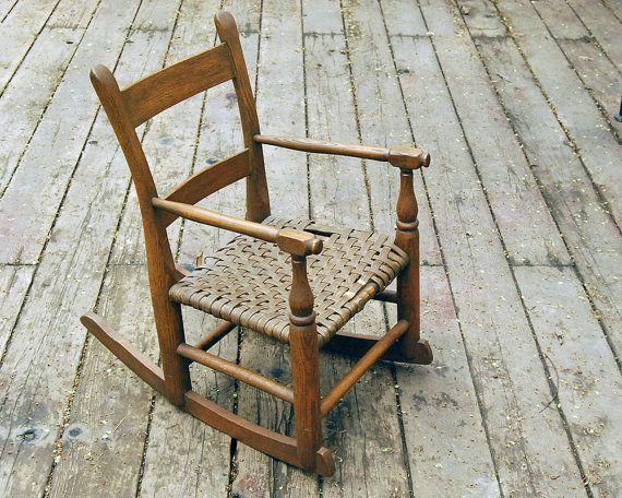 Vintage Children S Rocking Chair Oak Wood Brown By