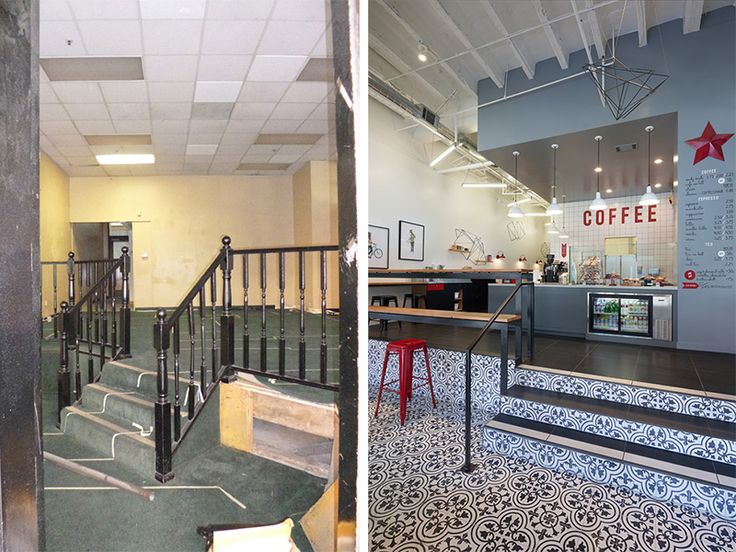 Before after a dated retail space to a modern coffee for Interior design oakland