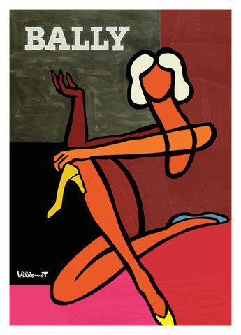 Bally Woman Vintage Poster Art Print Villemot NZ | Pop Motif