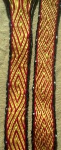 """Missed-Hole Tablet Weaving """"Spiral"""". Twist neutral pattern :-) Set-up and pick/turning sequense on the web site"""