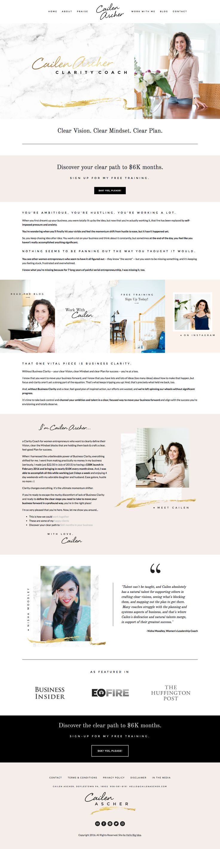 Squarespace site - cailenascher.com Design and branding by Hello Big Idea. hellobigidea.com