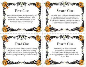 halloween scavenger hunt clues - Google Search                                                                                                                                                      More
