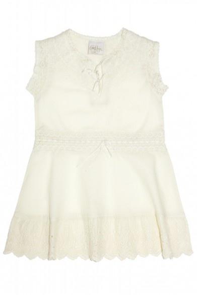 Enfant Cotton Ribbon & Lace Cap Sleeve Dress