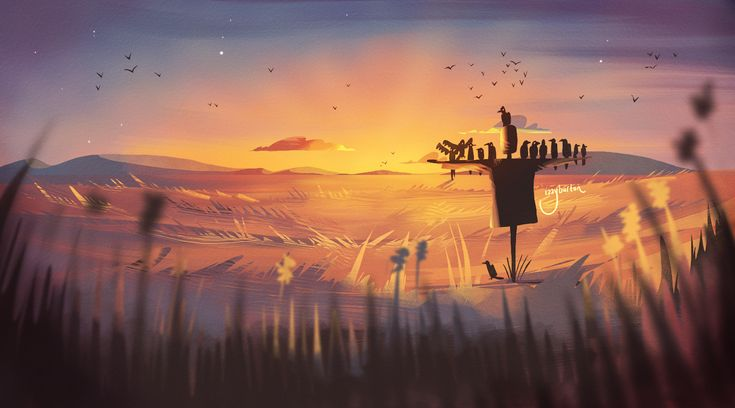 "30 minute speedpaint under the topic ""The ravens' favourite scarecrow""."