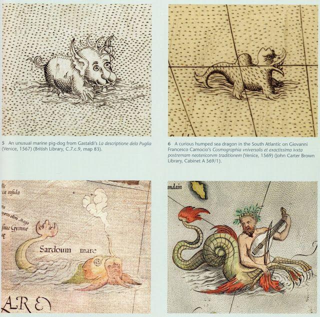 "Bottom [L]: ""An extravagant sea monster with an elephantine trunk spraying mist, from Gerard Mercator, 'Europae descriptio, emendata' (Duisburg, 1572) (Weimar, Herzogin Anna Amalia Bibliothek, Kt 080-44 S).  Bottom [R]: ""An icthyocentaur playing a viol on the map of Scandinavia in Ortelius's 'Theatrum orbis terrarum'* (Antwerp, 1571) (British Library, Maps.C.3.c.5., map 45)"""