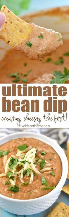 Ultimate Bean Dip ~ requiring a handful of simple ingredients -- refried beans, cream cheese, salsa, pepper jack, and cilantro -- and taking just 10 minutes to make, this stove-top appetizer recipe is creamy and cheesy...the perfect snack for parties or for watching the big game!   FiveHeartHome.com