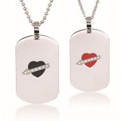 New Stylish Stone Mandrel Lover's Titanium Necklace(Price For A Pair) - USD $39.95