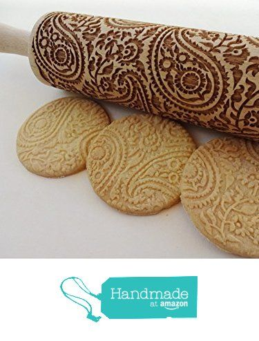 PAISLEY Embossing Rolling Pin. PAISLEY pattern. Engraved rolling pin with paisley for embossed cookies. from Sun Crafts
