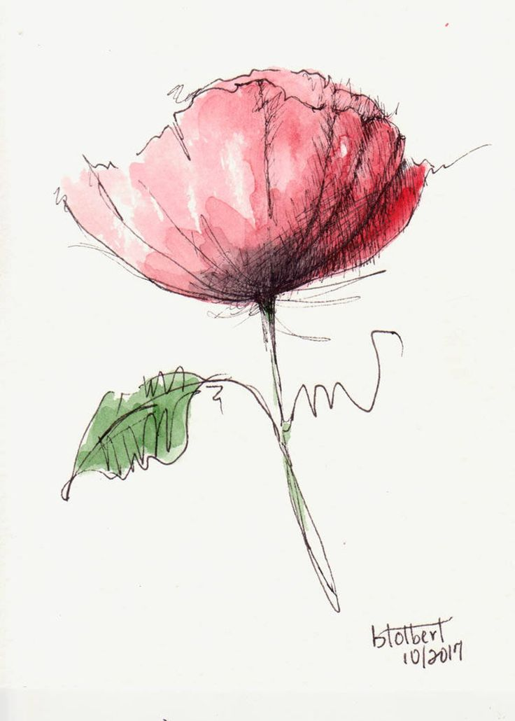 Original Watercolor Poppy Flower Water Color Hand Painted Art Painting Pen and Ink Red Poppy – Malereien