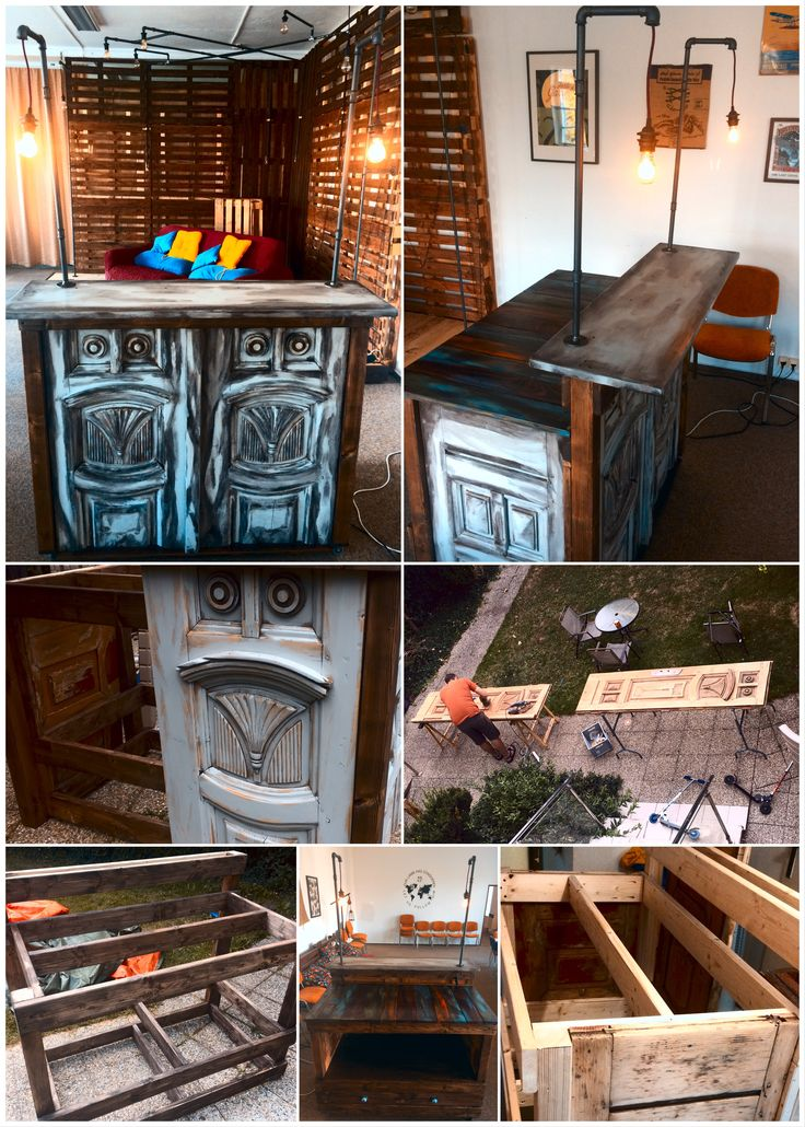 Rolling coffee bar with pipe lighting. Used old Czech Exterior Doors. Distressed painting.
