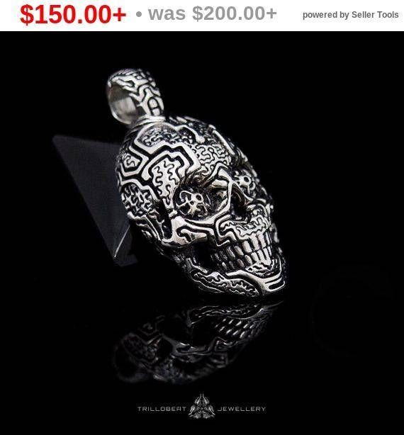 Silver Skull #Pendant, Skull Pendant, Skull Necklace, Sacred Skull with Shipibo Pattern  Shipibo Skull Pendant, series of sacred jewelry. Inspired by sacred patterns of amaz... #etsy #skulls #pendant #symbol
