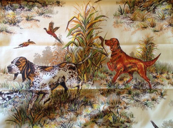 Vintage Dogs Hunting Pheasant Fabric A Screen Print Hunt