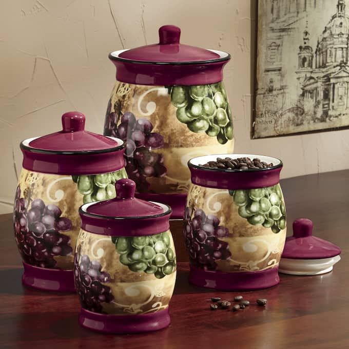 Amazon Com Tuscany Vineyard Grapes Wine Kitchen Dinnerware Set 16