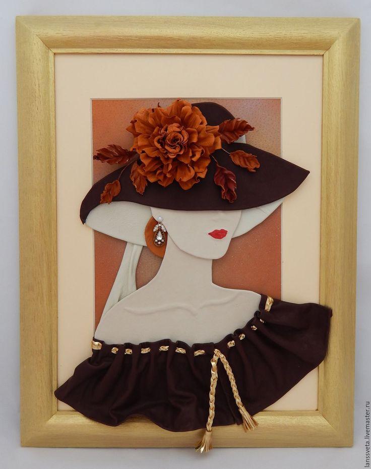 Купить Картина из кожи Дама в шляпе. Объемная картина из кожи. - золотой, картина из кожи