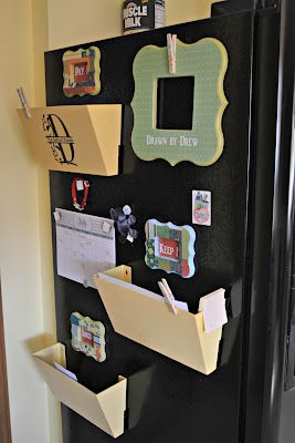 Awesome way to use your fridge as an organization space. Clears up clutter from your countertop and just looks adorable!