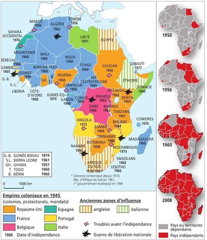 Les décolonisations de l'Afrique noire (1957-1960).