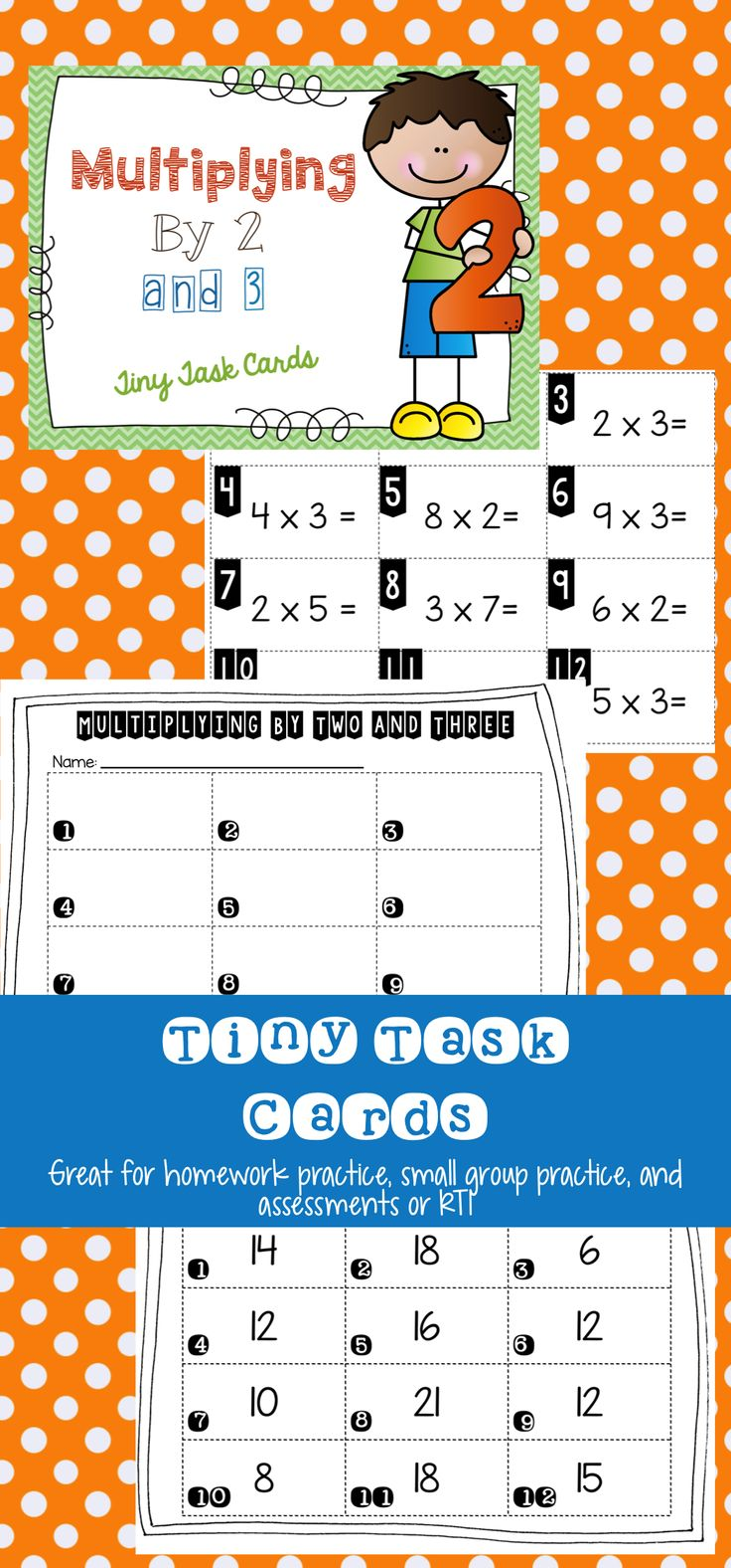 Multiplying Tiny Task Cards.  These are perfect for introducing multiplication to your students, or for students that need extra practice with certain multiplication facts.