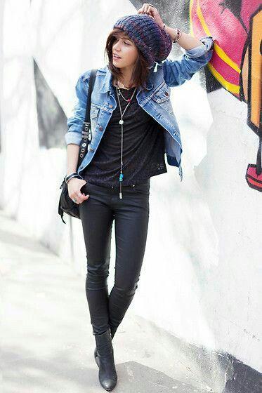 Black pants + black top + jeans jacket