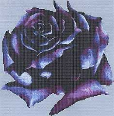 Dark Rose Cross Stitch Pattern - Savor the extraordinary shades of a rare purple rose. Design measures 153 by 158 stitches. Pattern is 6 pages, comb-bound.