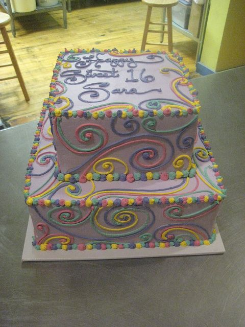 Sweet 16 cake - love the colors!