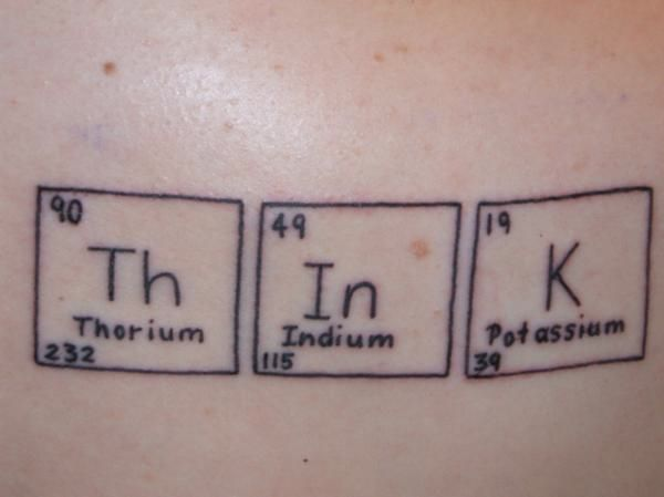 "Jen writes: ""Out of my interest for Chemistry and my heritage I chose to get his tattoo done almost a year ago. It is on the back of my upper right shoulder and it is a reminder of my philosophy for life ""question all objectively."""