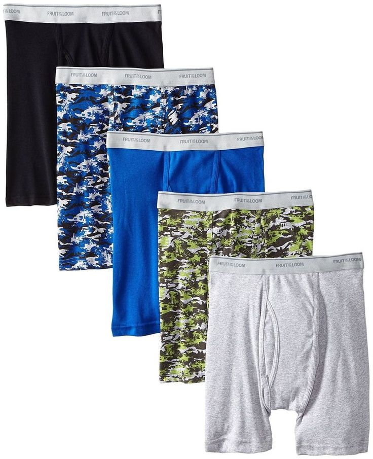 Fruit of the Loom Men's Tag Free 5pack Boxer Briefs Print