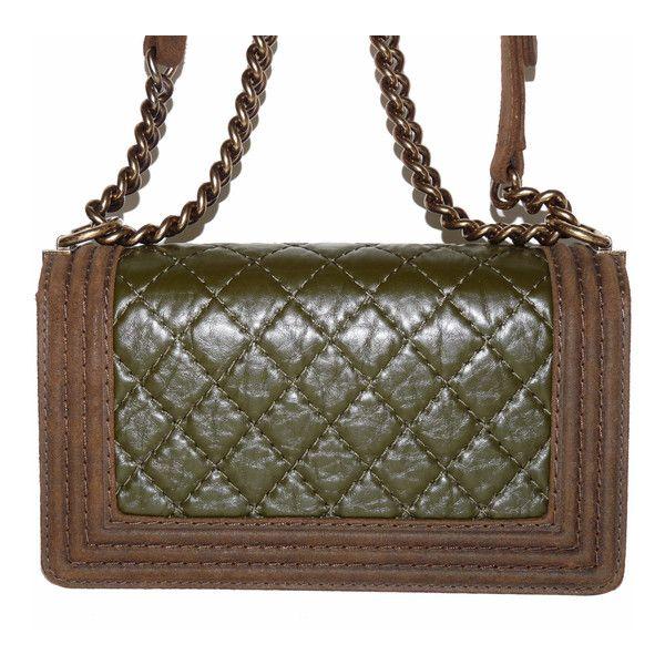 depot vente de luxe en ligne chanel sac boy en tissu matelass kaki et peau marron
