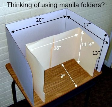 """Privacy Folders with Manila Folders. This illustration shows how much more room you have using our 13"""" desktop carrel versus making your own out of folders."""